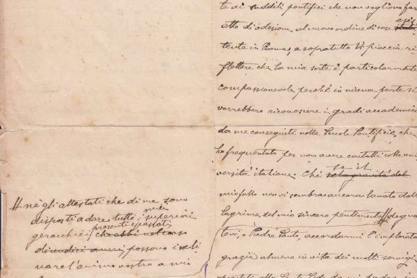 Drafted Unsigned Letter From Benedict XV's Time as Substitute Secretary of State For Leo XIII