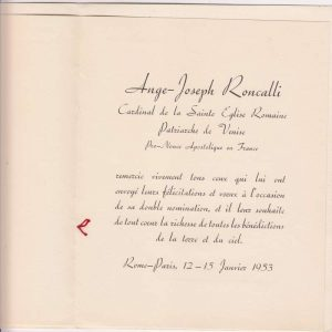 Thank You Card and Message Sent From Angelo Roncalli on the Occasion of His Elevation to the Cardinalate (inside view)
