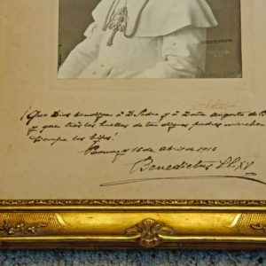Portrait of Pope Benedict XV in a Presentation Frame with Signature (signature)