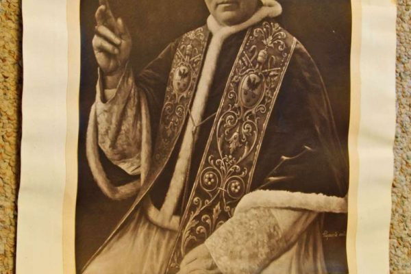 Signed Portrait of Pius XI Giving a Blessing