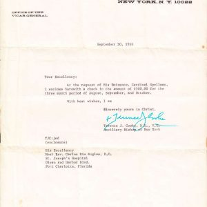 Signed Letter from Cardinal Terence Cooke from 1966