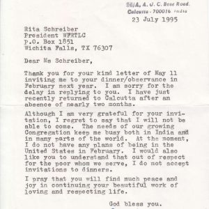 Letter from Blessed Mother Teresa to Ms. Rita Schreiber, Dated 1995
