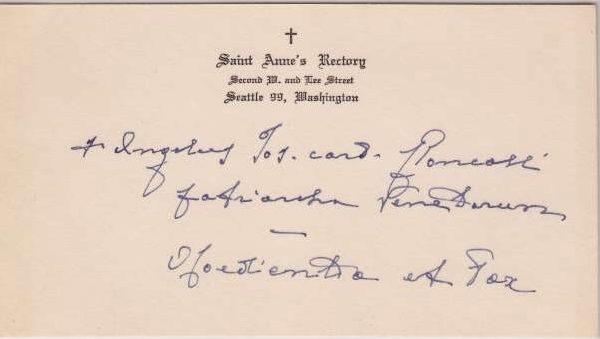 Calling Card Signed by Pope John XXIII as Cardinal