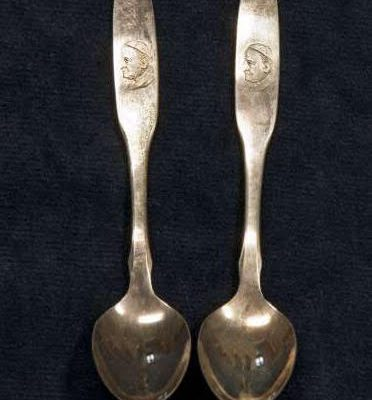 Two Silver Spoons with Image of Saint John XXIII on the Handles