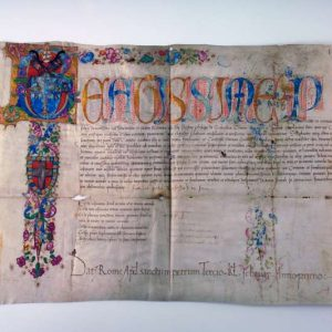 Illuminated Papal Fiat Initialed by the Pope in 1471
