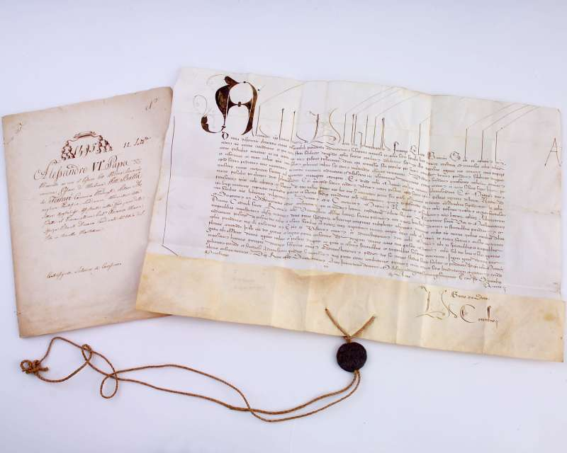 Papal Bull With Its Original Envelope, Dated 1495