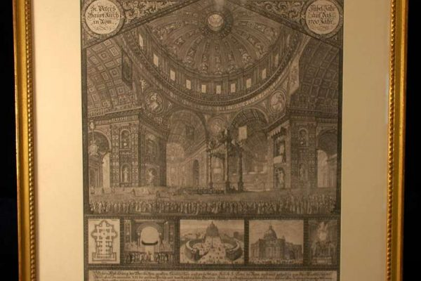 Copper Engraving of St. Peter's Basilica For the Holy Year of 1700