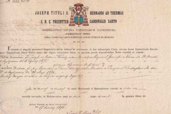 Untranslated Document of Saint Pius X as Cardinal