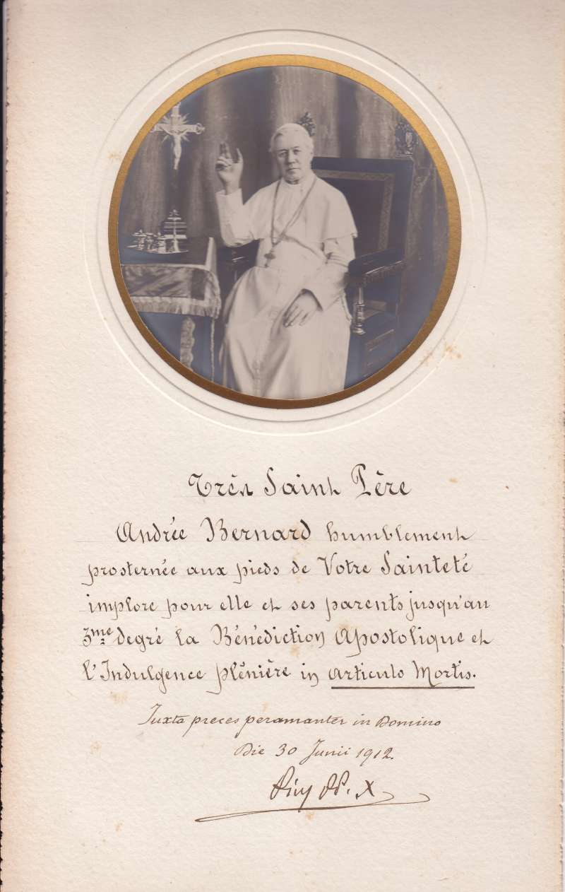 Autographed Blessing of St. Pius X
