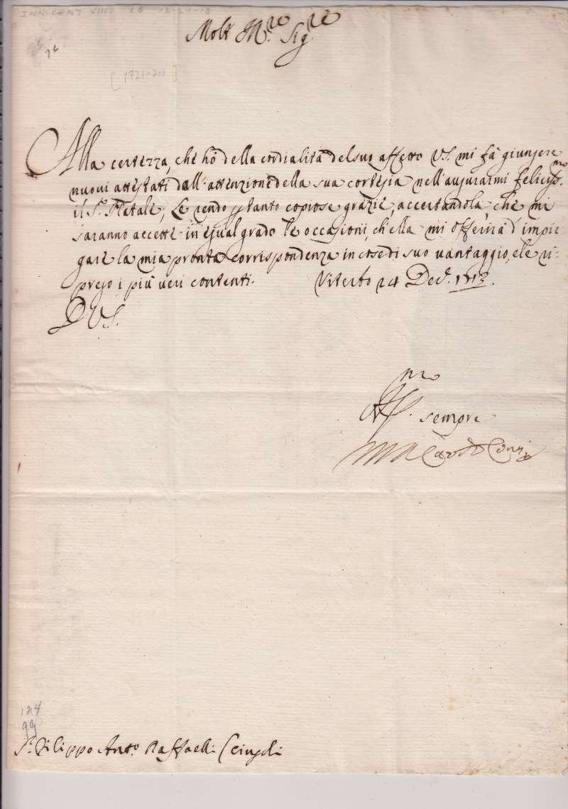 Signed Christmas Greeting From Cardinal de'Conti on December 14th, 1713