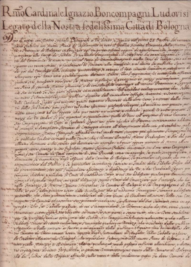 Three-Page Formal Document to A Cardinal (page 1)