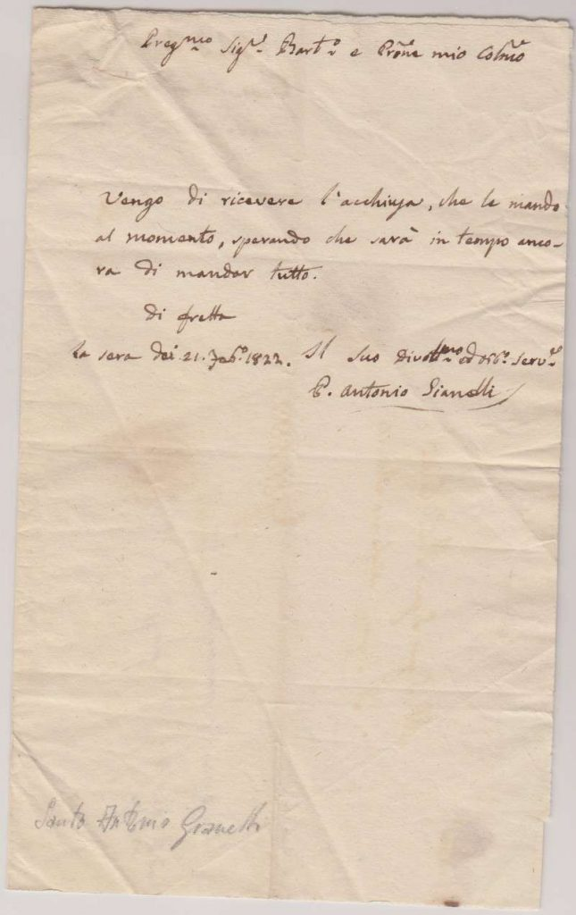 Letter Written and Signed by St. Antonio Gianelli to the Most Rev. Mr. Bartelemeo