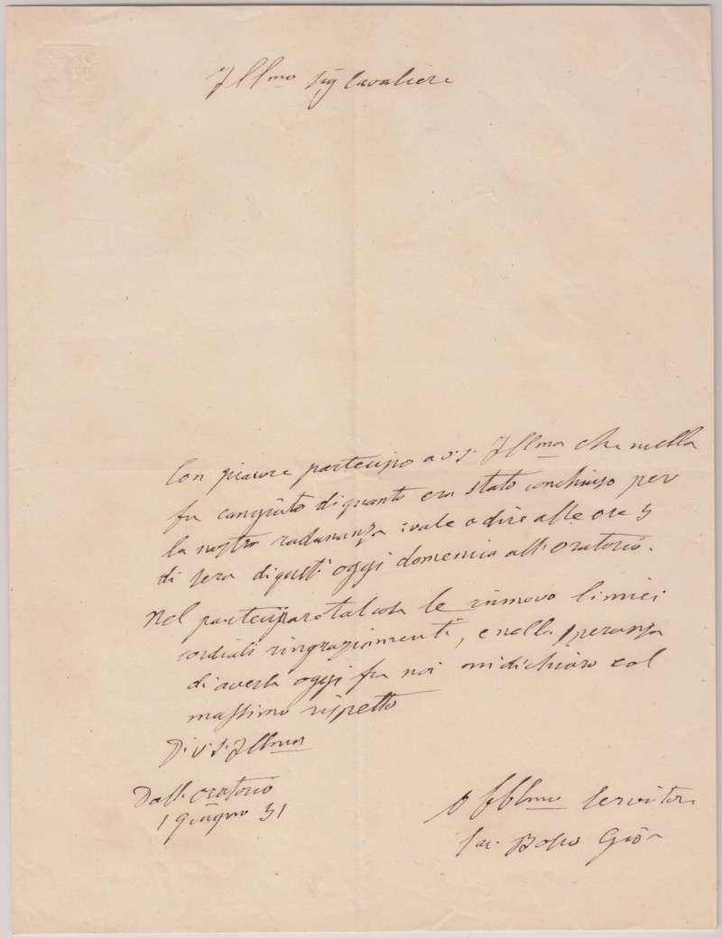 Letter Signed by St. John Bosco From 1851