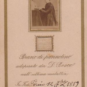Autograph on a Relic Card of St. John Bosco From 1889