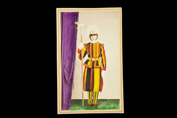 Hand-Painted Photo of a Swiss Guardsman