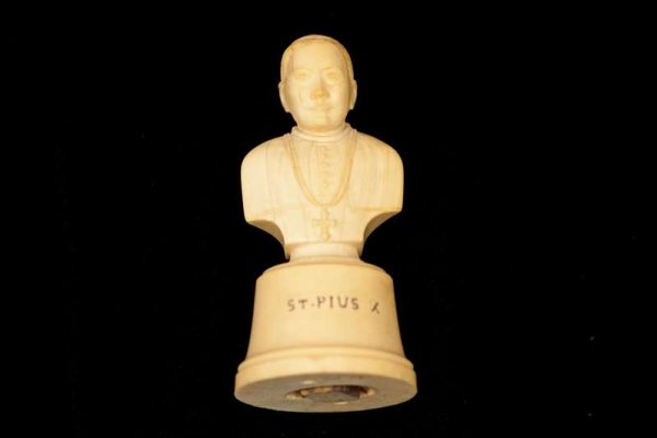 Hand-Carved Ivory Bust of St. Pius X