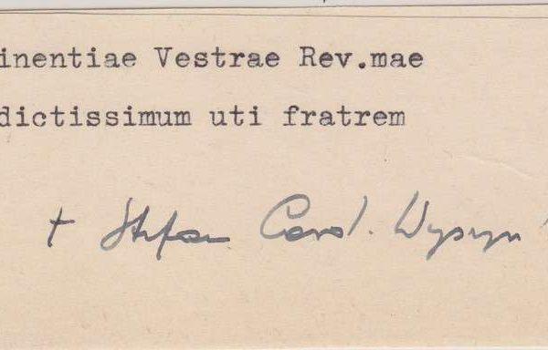 Slip of Paper Signed by Cardinal Stefan Wysznski