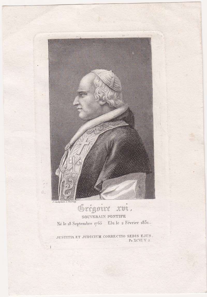 Souvenir Holy Card From the Election of Gregory XVI