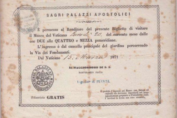 Ticket to the Vatican Museum in 1871