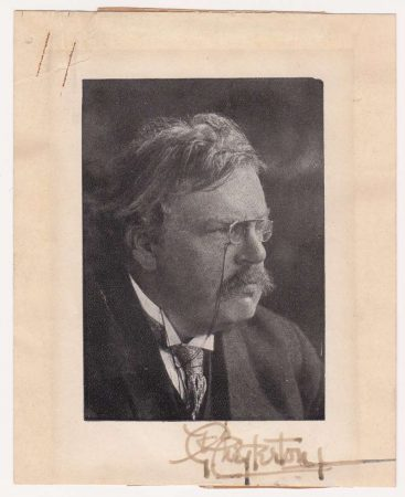 A Small Autographed Sketch of G. K. Chesterton
