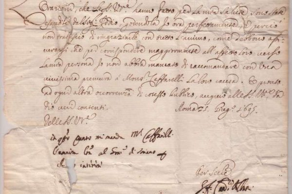 Untranslated Letter of Pope Clement XI, Dated 1695, Signed as Cardinal