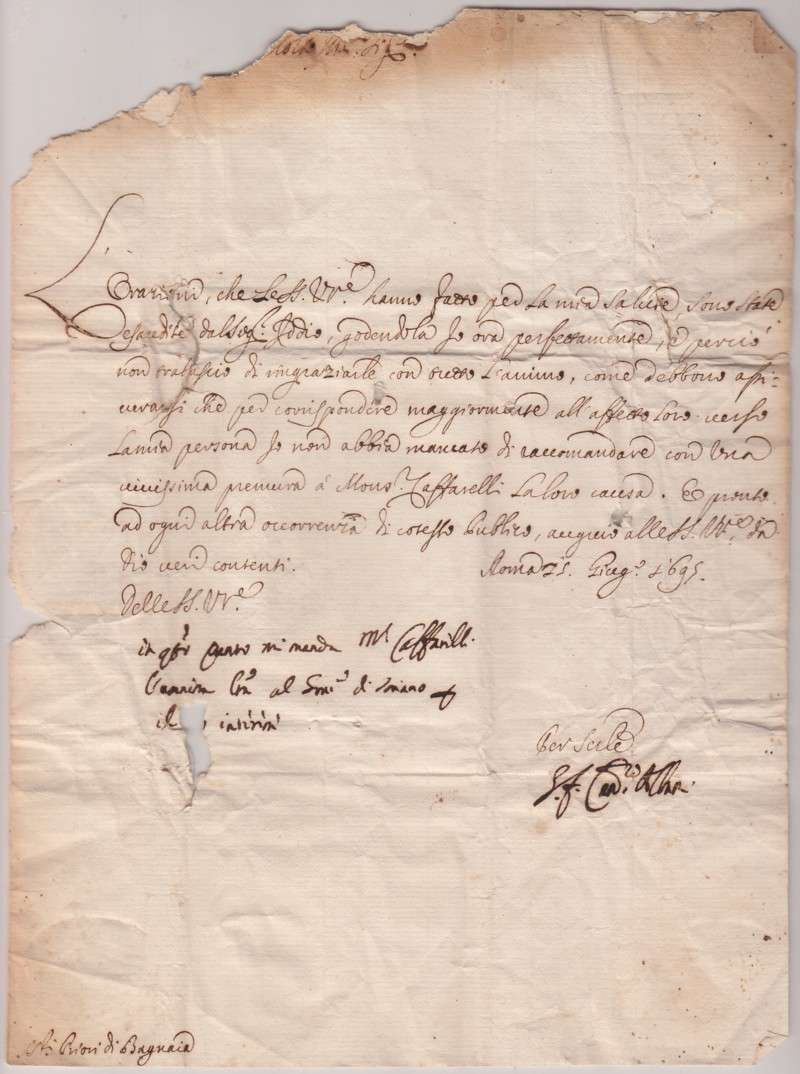 Untranslated Letter, dated 1695 as Cardinal Albani