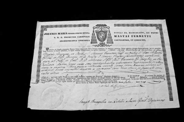 Authentication by Pope Pius IX of a St. Teresa of Avila Relic