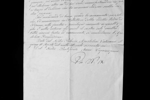An Appointment of Historical Significance, Signed by Pope Pius IX