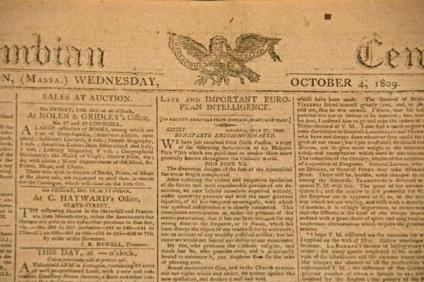 Newspaper Reporting Napoleon's Excommunication by Pope Pius VII, 1809