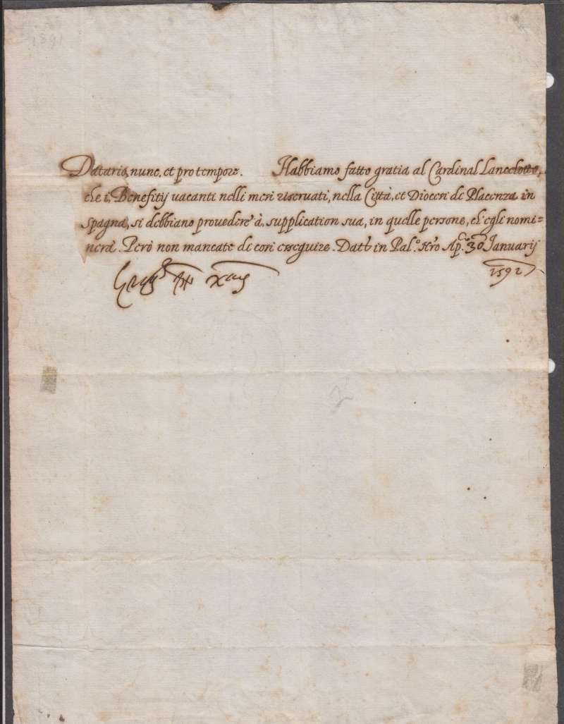 Untranslated, Signed Papal Letter, Dated, January 30, 1591