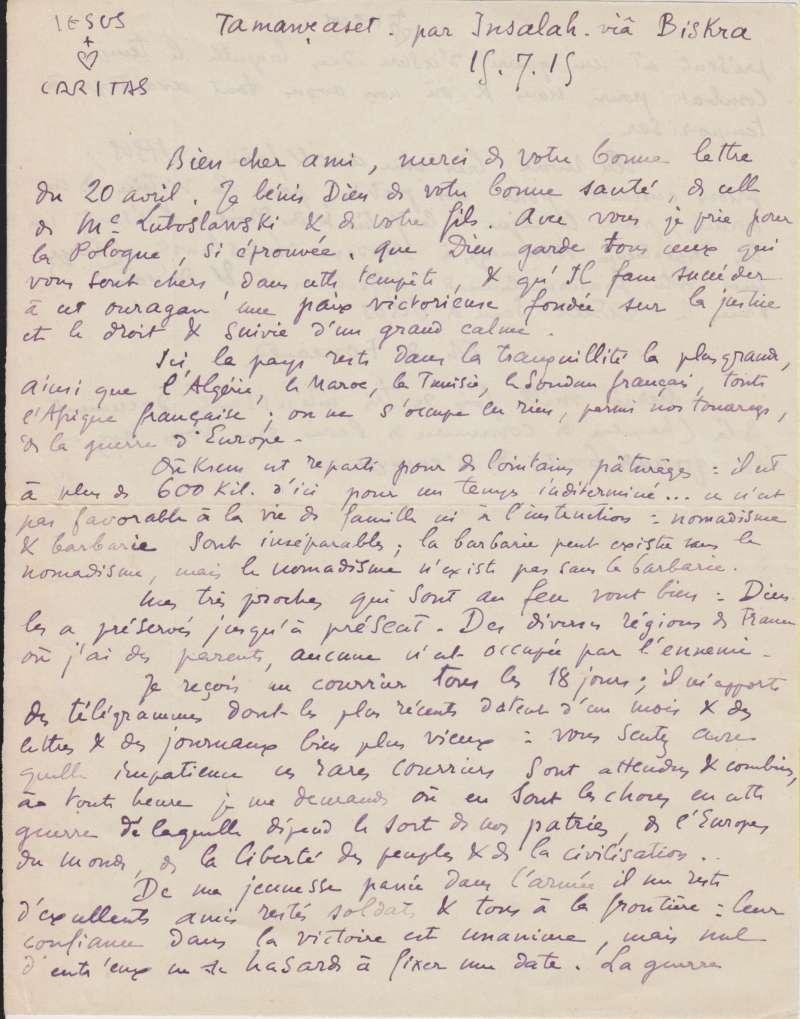 Letter from Blessed Charles de Foucauld