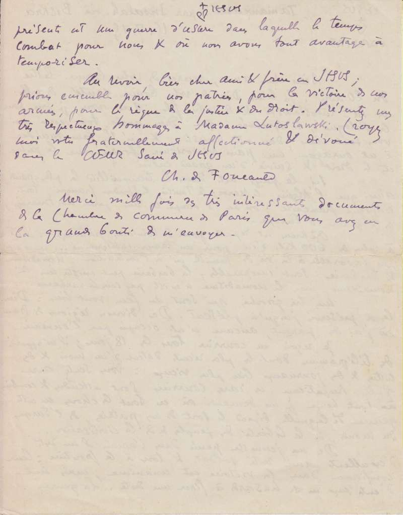Page Two of Letter from Blessed Charles de Foucauld