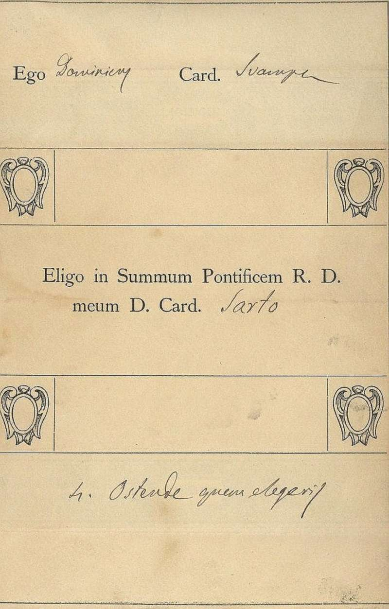 Ballot of Cardinal Svampa from 1903 Conclave