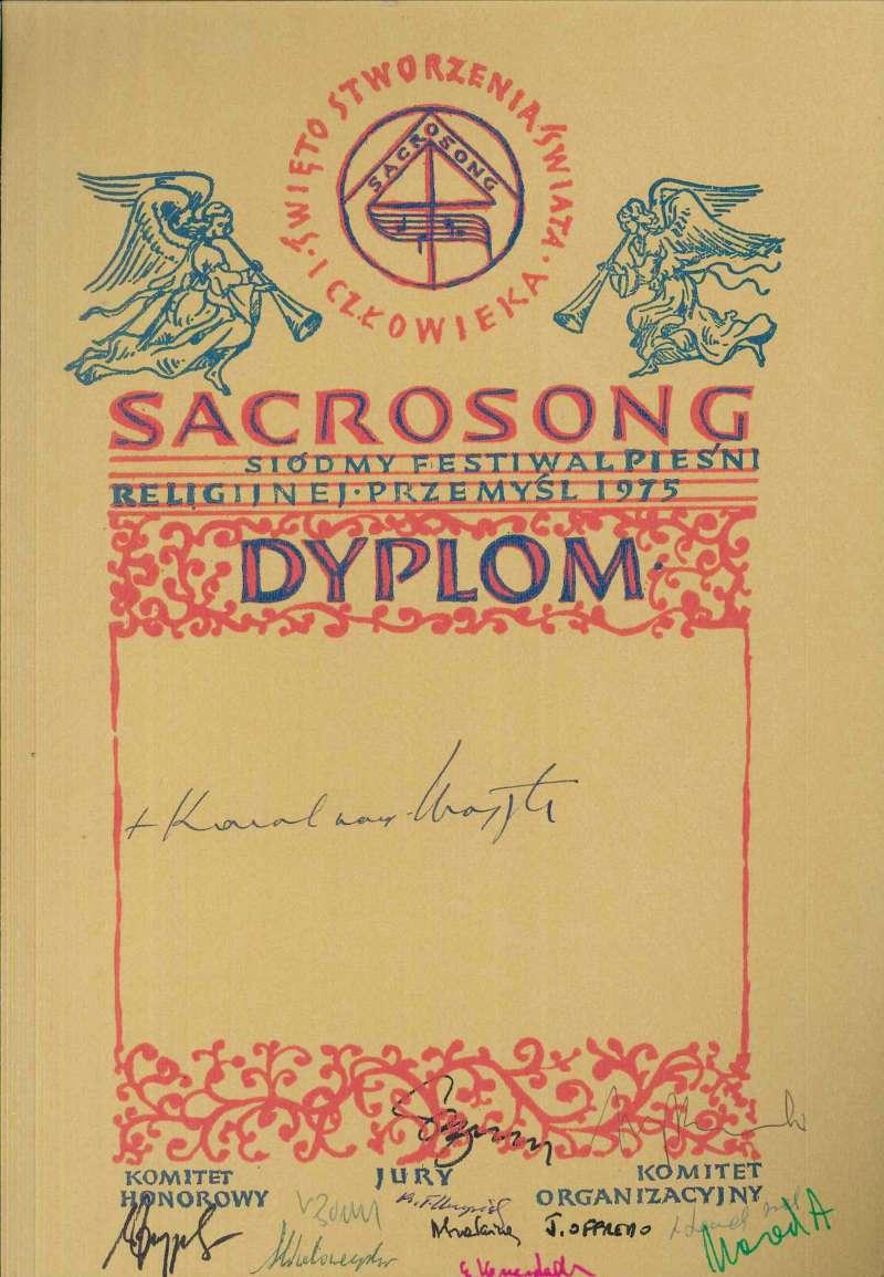 Diploma from the Polish Festival of Sacrosong, Dated 1975, Signed by Karol Wojtyla