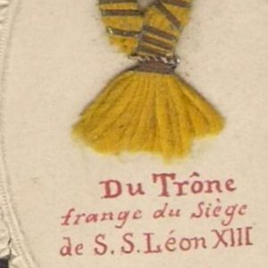 Holy Card Containing the Fringe of the Throne of Pope Leo XIII