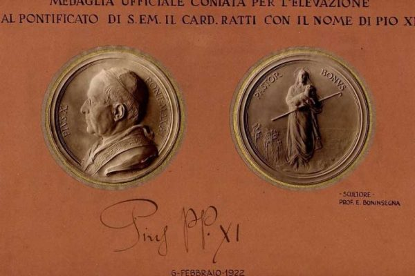 Medallion Commemorating the Election of Pope Pius XI, with Signature