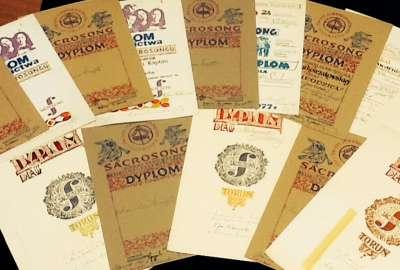 Diplomas from the Polish Festival of Sacrosong, Signed by Karol Wojtyla