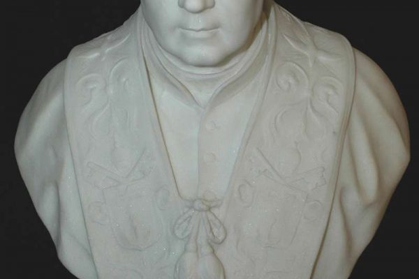 Hand-Carved Marble Bust of Saint Pius X