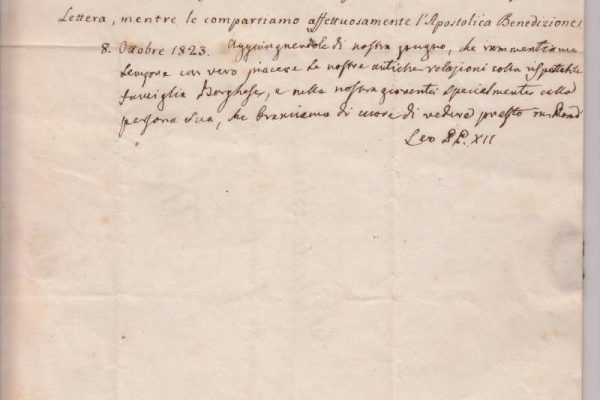 Letter Signed As Pope Leo XII, October 8, 1823