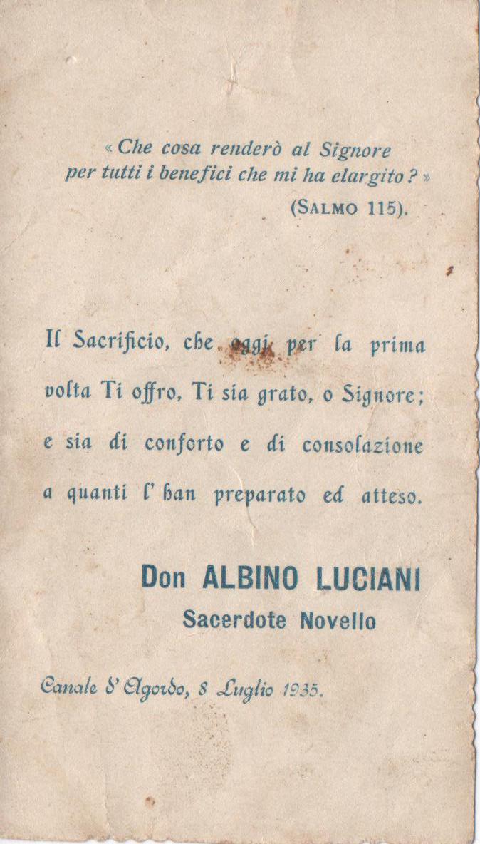 Pope John Paul I ordination card