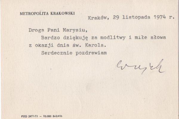 """Note Card Signed by St. John Paul II as """"Wujek"""" (Uncle), 1974"""