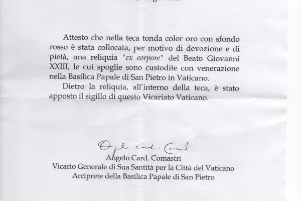 First Class Relic of Saint John XXIII & the Certificate of Authenticity