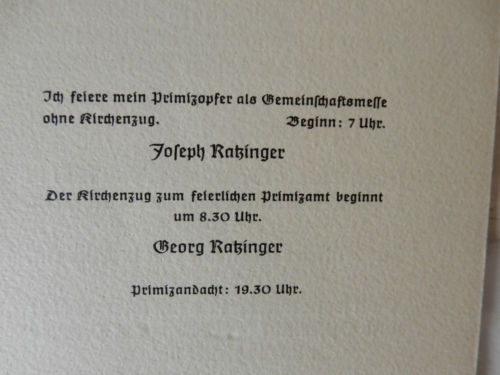 Memorabilia of Two Brothers' Ordinations in 1951 (Pope Benedict XVI and Georg Ratzinger)