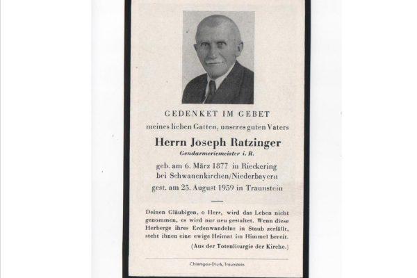 Funerary Card for Pope Benedict XVI's Father,  Herrn Joseph Ratzinger
