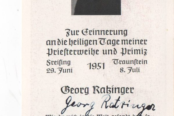 Holy Card Commemorating the Ordination of Father Georg Ratzinger, Signed