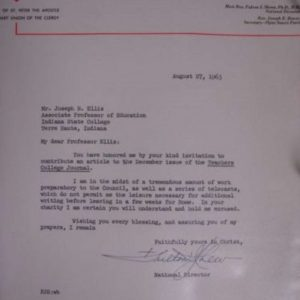 Signed Letter Indicating Bishop Fulton J. Sheen's Preparations for the II Vatican Council