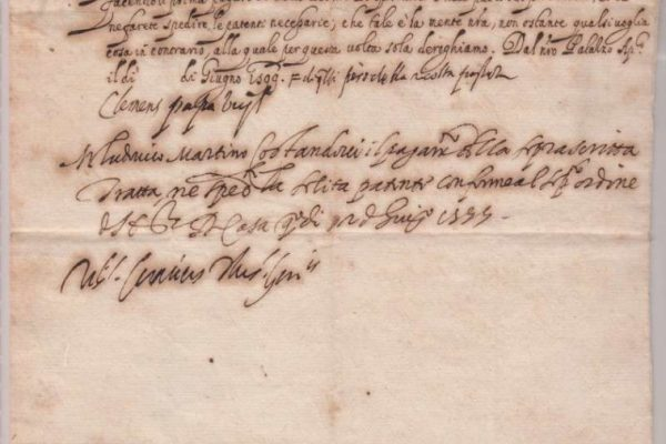 Translated Letter Signed as Pope, Dated June, 1599