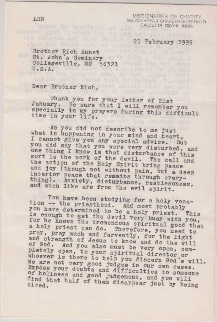 Letter From Blessed Mother Teresa of Calcutta to Father Richard Kunst, Dated 1995