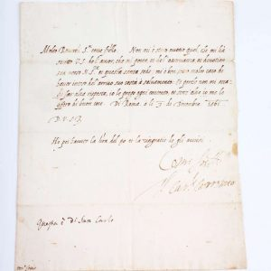 Signature of St. Charles Borromeo on a Letter of Thanks, Dated December 3, 1561