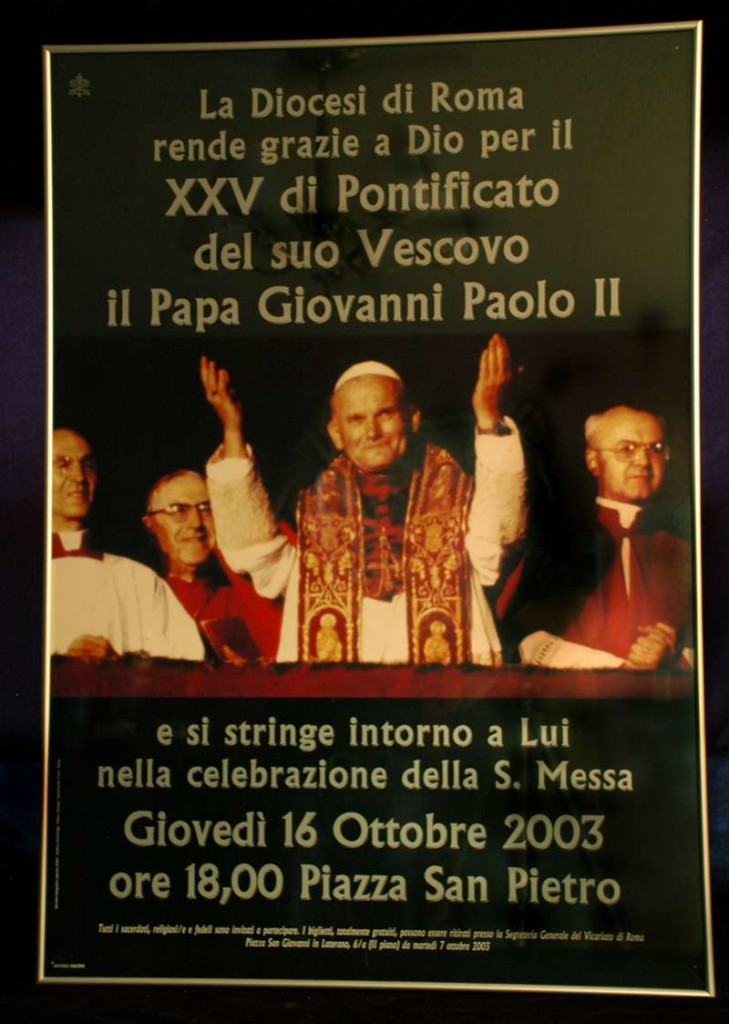 Poster Hung Outside of the Church of St. Agnes in Agony in Piazza Navona, Rome